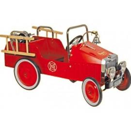camion de pompiers rétro en métal rouge