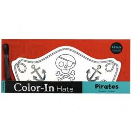 8 chapeaux à colorier 'pirates'