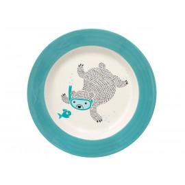 Tiefer Keramikteller mit blauem Rand 'Benjamin'